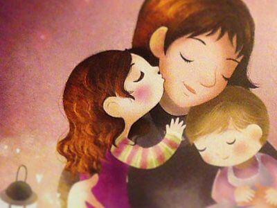 Une illustration d'une maman embrassée par sa petite fille et son petit garçon
