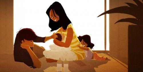 familia practicando el arte de consolar