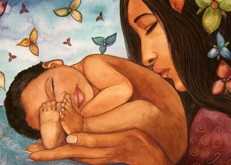 mama besando bebe