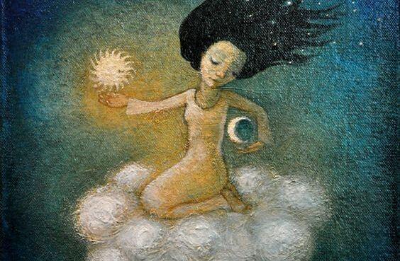 mujer con luna y estrella