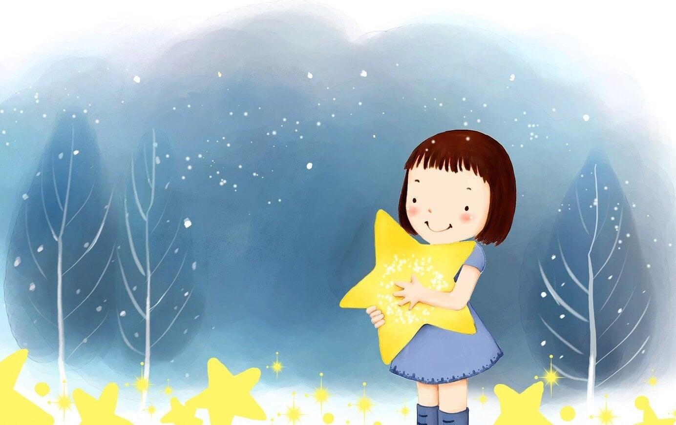 niña con estrella disfrutando de su infancia
