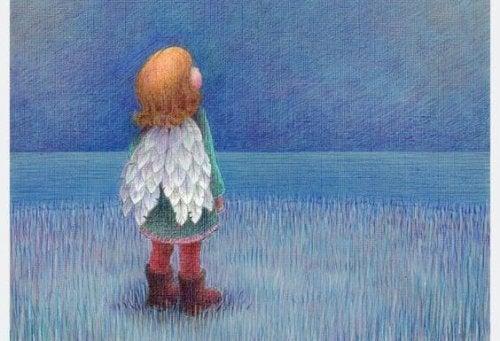 niño con alas temiendo la obediencia
