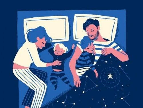 papás durmiendo por la noche
