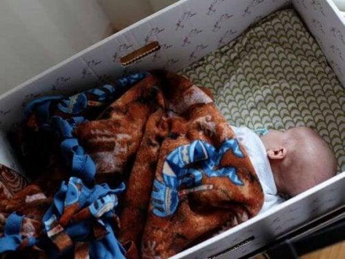 Bebés que duermen en cajas, ¿por moda o por salud?