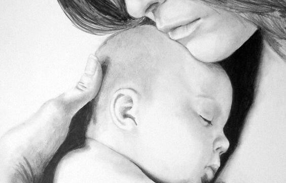 bebe dormido brazos mama