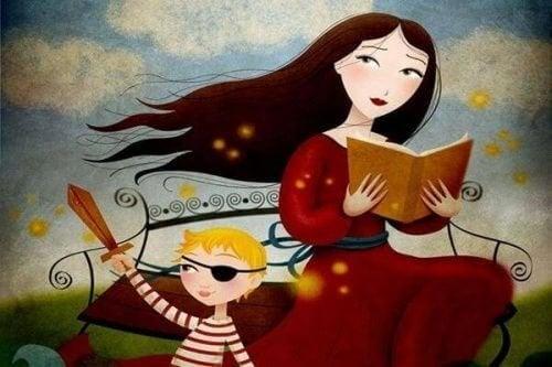 La madre que cultiva la paciencia se le enseña a su hijo
