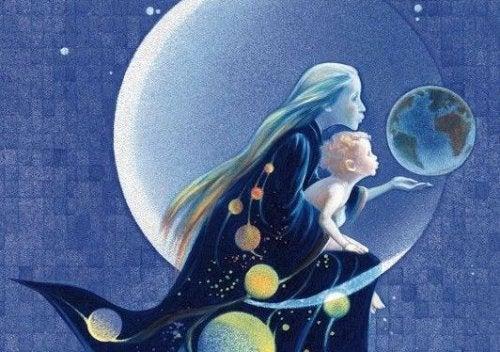 mamá orgullosa con su niño en luna