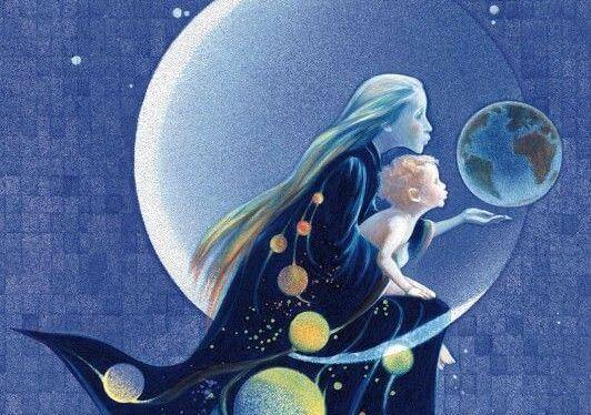 mamá con niño en luna