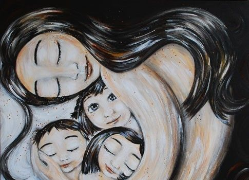 hijos en brazos