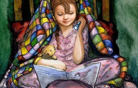 Illustration d'une petite fille lisant un livre avec une lampe torche sous une couverture