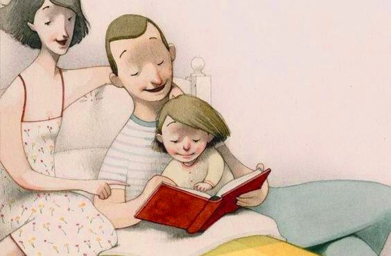 padre y madre leyendo un libro en la cama