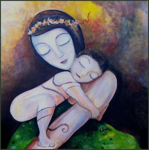 Los brazos de una madre son una fuente de ternura