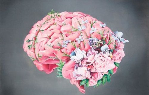 Cerebro hecho con flores para presentar el rendimiento cognitivo.