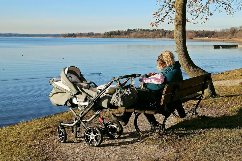 Rest Lake Baby Carriage Bench Break Nature Water