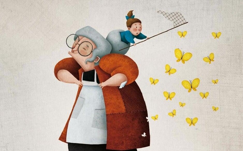 abuela con nieta cazando mariposas