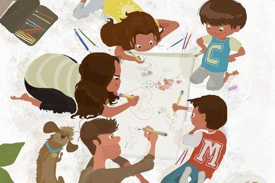 una familia dibujando en medio del desorden