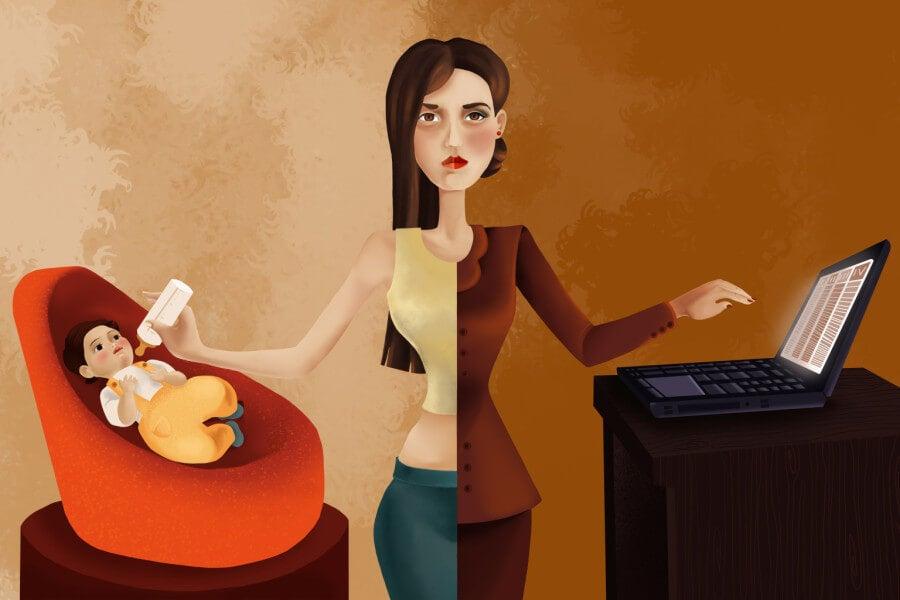Dibujo de una mujer trabajadora que a la vez es ama de casa