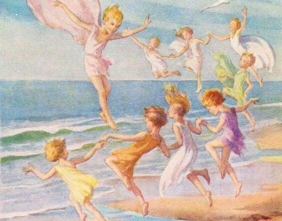 niños jugando en la playa sin cargas