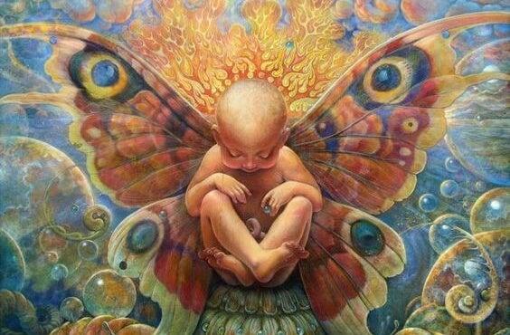bebé pequeño con alas que representa el arte de apapachar el alma de los niños