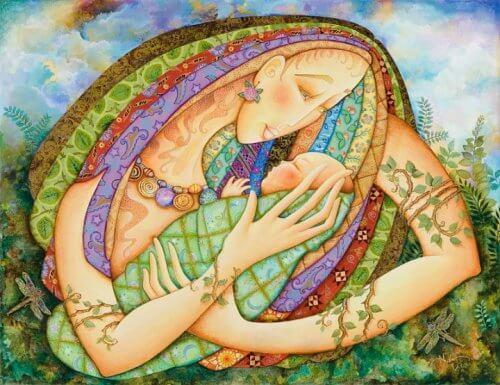 madre con bebé en brazos disfrutando del hoy