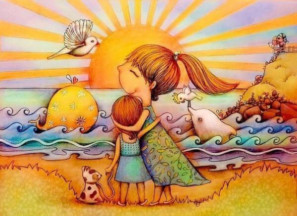 madre e hija rodeadas de naturaleza disfrutando del hoy