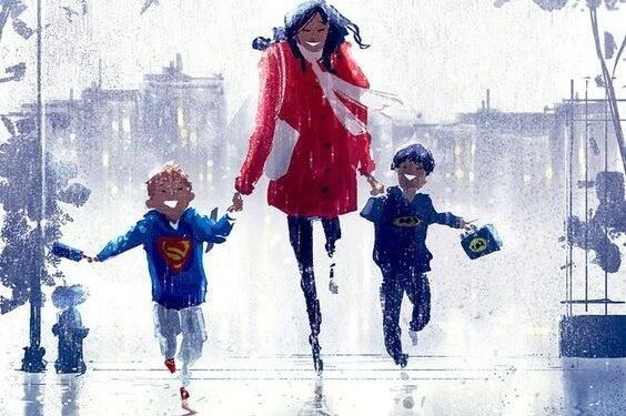 mamá llevando de la mano a sus dos hijos