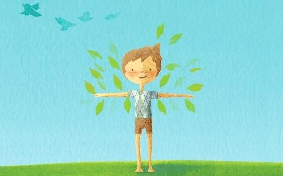 menino de braços abertos se sentindo livre