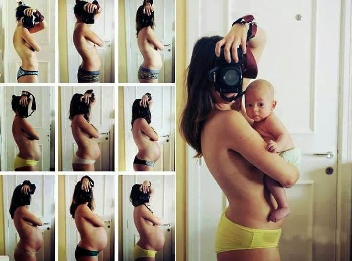 Madre realizándose autorretratos de embarazo