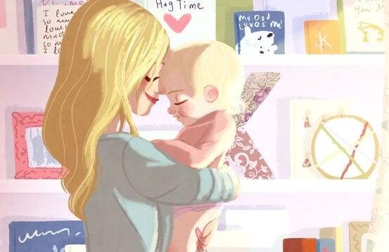 mamá abrazando y dando mimos a su bebé