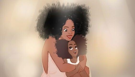 mamá abrazando a su niña
