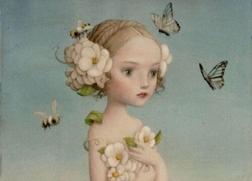 niña con mariposas alrededor sufriendo una promesa incumplida