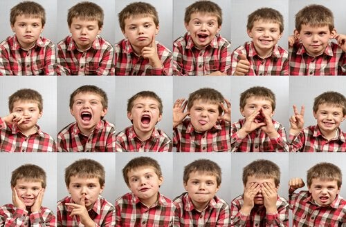 Niño expresando diferentes emociones.