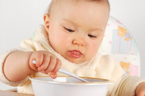 Los primeros alimentos para el bebé suelen ser en puré o molidos.
