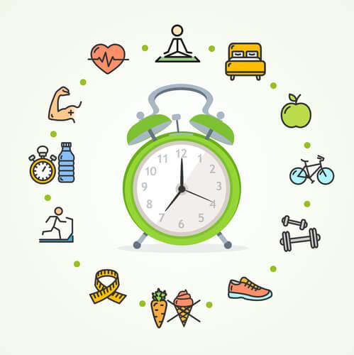 Una buena forma de establecer una rutina es marcar las actividades en un reloj.
