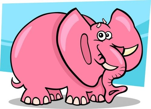 Elefante rosa.