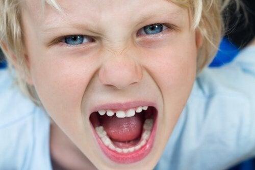 Niño enfadado gritando porque no tiene autocontrol.