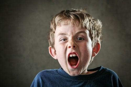 Niño enfadado gritando por la crisis de los siete años.