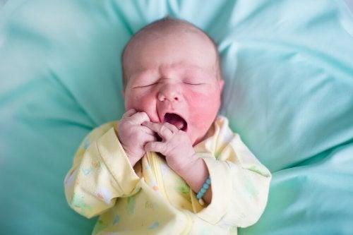 Bebé recién nacido bostezando.