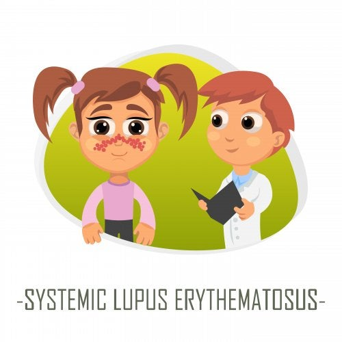 Dibujo de una niña en el médico con síntomas de lupus sistémico.
