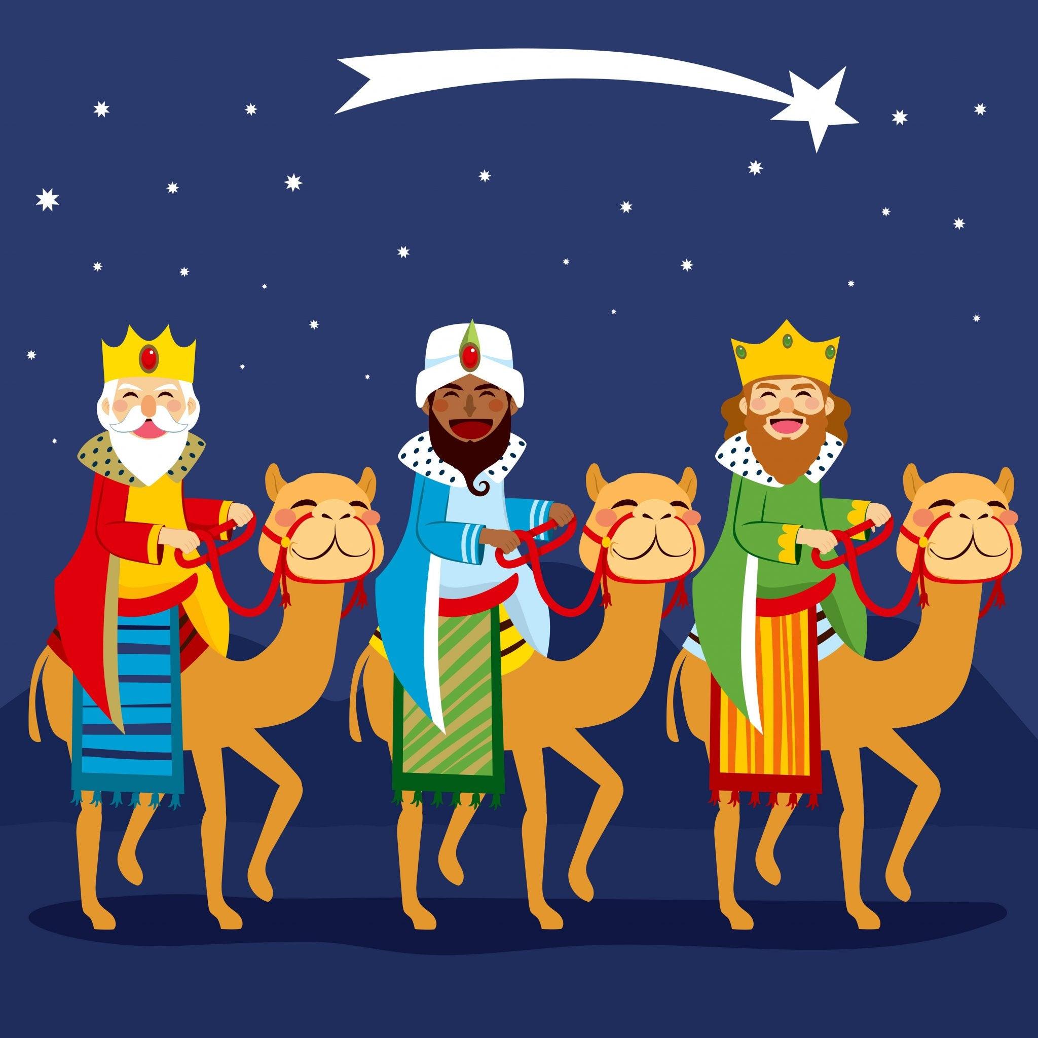 Dibujo de los Reyes Magos de Oriente siguiendo la estrella para llegar a Belén.