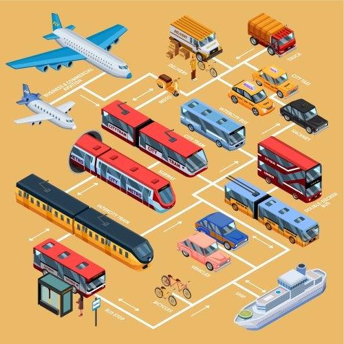 Libros sobre medios de transporte.