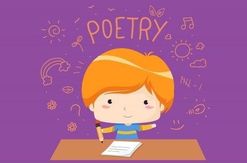 Niño escribiendo una poesía.