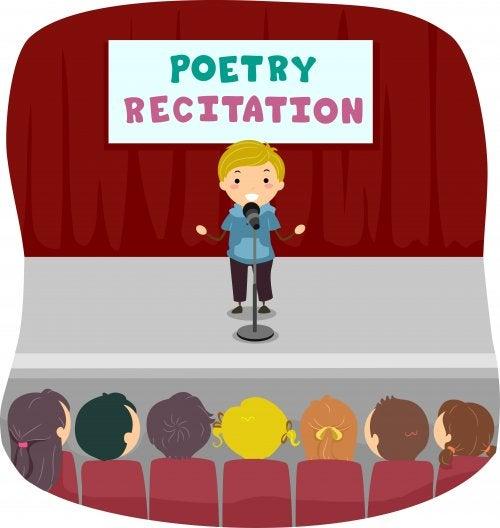 Niño en un recital de poesía.