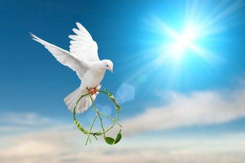 Paloma con el símbolo de la paz en sus patas.