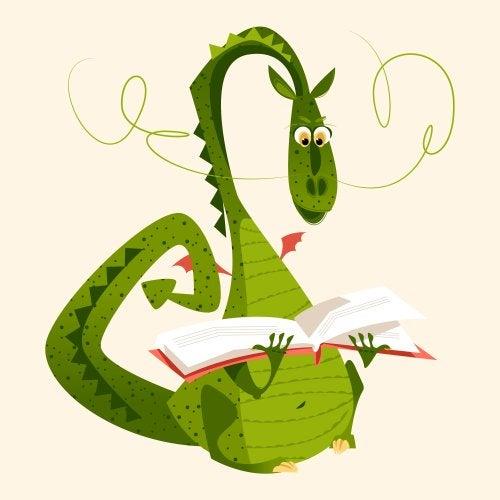 Dragón leyendo un libro.