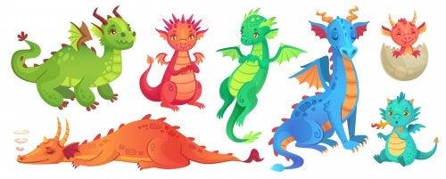 Dragones de colores.