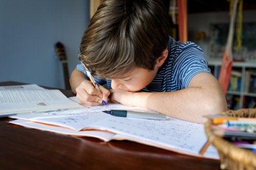 Niño haciendo las tareas escolares en un buen espacio para los deberes en casa.