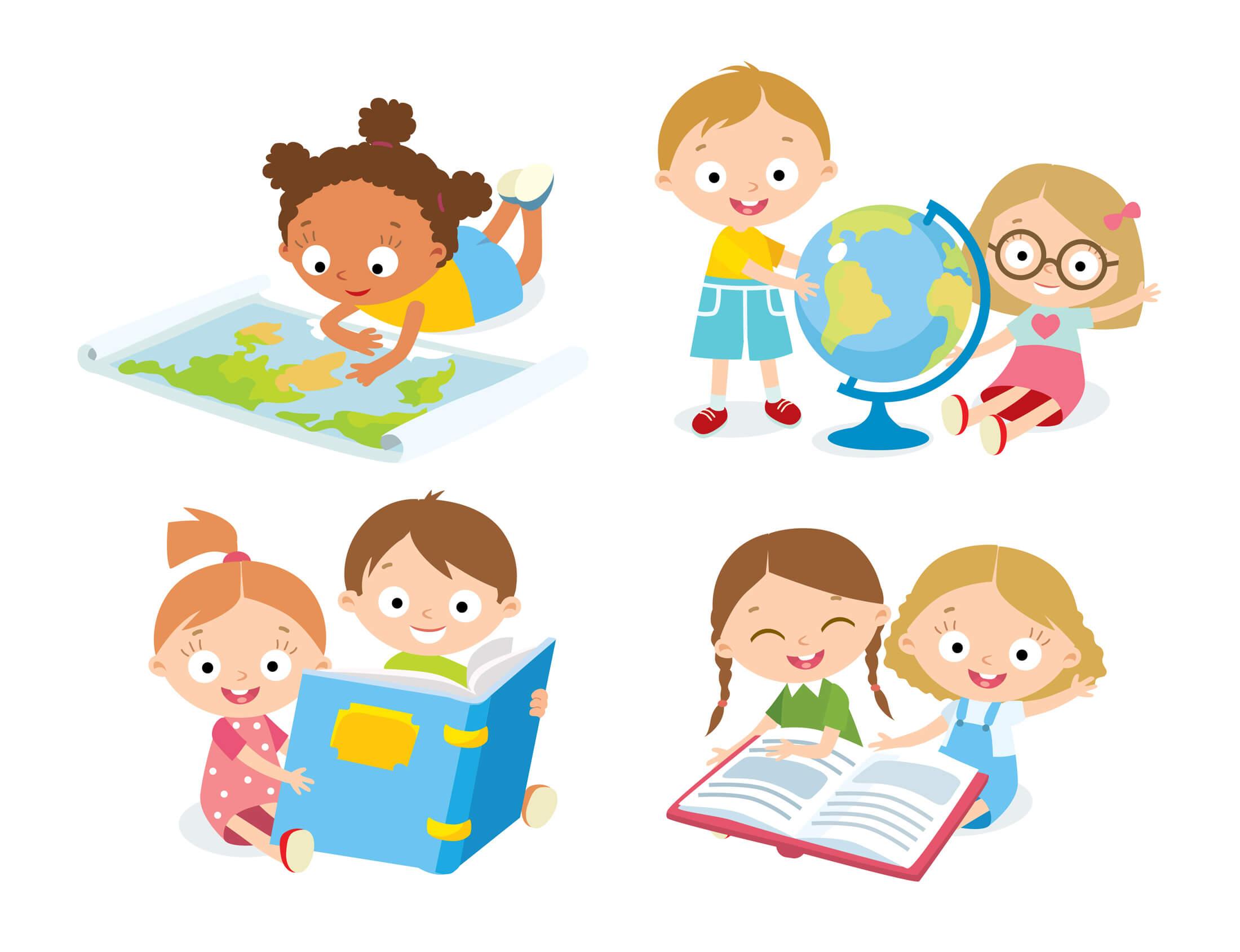 Niños utilizando diferentes recursos educativos para enseñar geografía.