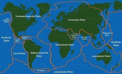 Mapa con las Placas Tectónicas de todo el mundo.