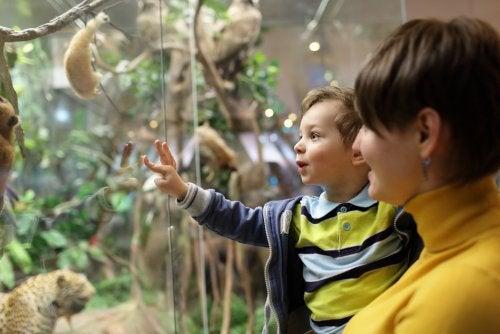 Niño con su madre visitando algunos museos de España.